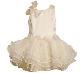 Toddler Girls Ivory Satin Organza Wedding Easter Spring Dress 3T New