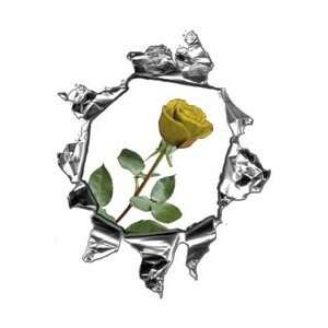 Mini Ripped Torn Metal Decal with Yellow Rose  REFLECTIVE