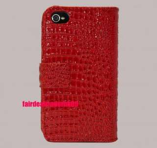 Fine Croco Leather Flip Case Wallet Pouch Cover Holder for Apple