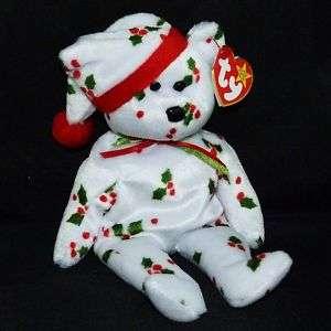 TY Beanie Baby 1998 HOLIDAY TEDDY Holly Bear 8 MWMT