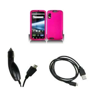 Motorola Atrix 4G (AT&T) Premium Combo Pack   Hot Pink Hard Rubberized