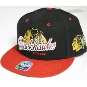 Chicago Blackhawks NHL 47 Brand Vintage Black Tricky Lou MVP Snap Back