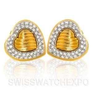 Yurman Estate 18K Yellow Gold Pave Diamond Cable Heart Earrings