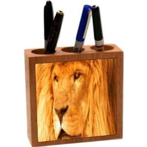 Rikki KnightTM Lion Close up 5 Inch Tile Maple Finished