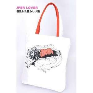 Super Lover Hot Dog Tote Shoulder Canvas Bag White S7