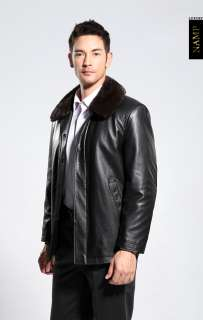 Top Luxury gold mink lining, leather, deerskin coat