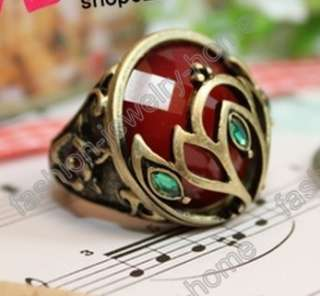 Fashion Dazzling Green Crystal Retro Bronze Style Rings