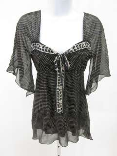 MAX STUDIO Black Beige Polka Dot V Neck Blouse Top Sz S