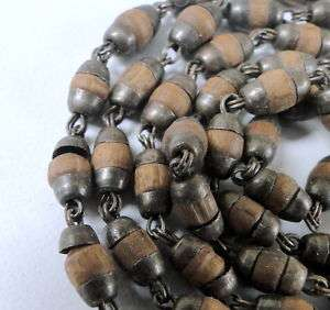 ETHNIC TRIBAL OLD SILVER JEWELRY BEAD NECKLACE CHAIN