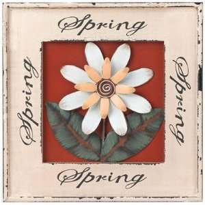 Wall Decor Wood Sign   Celebrate Spring w/ Metal 3D Flower (12Wx12