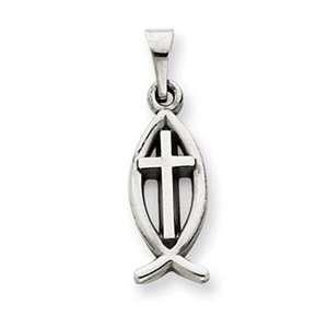 Designer Jewelry Gift 14K White Gold Cross Ichthus Fish Charm Jewelry