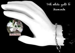 Luxurious estate 14k white gold diamond bracelet, 24 diamonds, 1/4