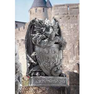 Medieval Gothic Dragon Shield Castle Statue Sculpture Figurine Home