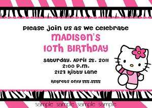 HELLO KITTY ZEBRA PRINT INVITATIONS