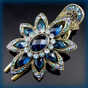 antiqued crystal rhinestone flower hair clamp clip