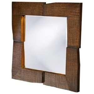 Textured Faux Oak Stain Contemporary 25 Wide Wall Mirror