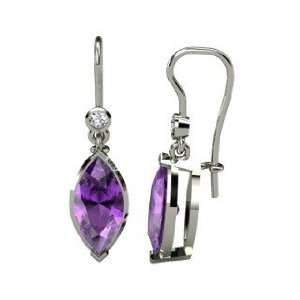Marquise Essential Earrings, Marquise Amethyst 14K White Gold Earrings