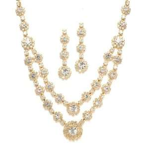 Mariell ~ Regal Gold Two Row Rhinestone Neck Set Jewelry