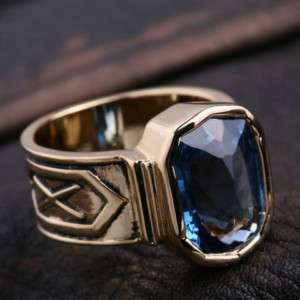 LORD OF THE RINGS 14K Gold Plated Blue Dwarf Rings