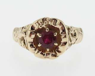 Vintage Estate Floral Motif Ruby Solid 14k Gold Ring