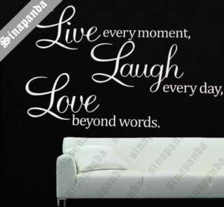 S60*85BIG LIVE LAUGH LOVE WALL STICKER ART DECAL DECOR QUOTE SAYING