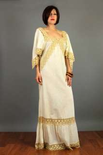 CROCHET Hippie ANGEL Slvs BOHO Peasant GAUZE Maxi India DRESS S M