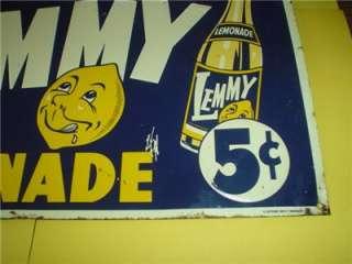 Vintage Lemmy Lemonade Embossed Advertising 5 cent Soda Metal Tin Sign