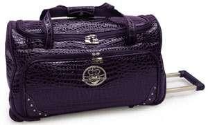 Kathy Van Zeeland Luggage Classic Carry On Wheeled Duffel Bag Purple