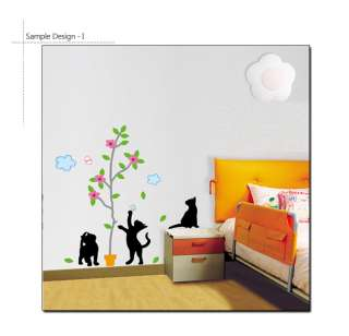 TREE & KITTIES MURAL ART VINYL DECOR WALL STICKER DECAL
