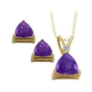 Trillion Cut Amethyst Necklace and Earrings Set Katarina Jewelry