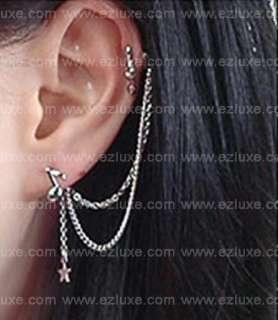 Korean K pop boa Long Music Note Star Two pin Earrings
