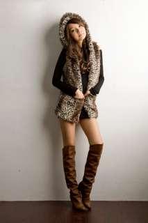 Korean Women Sleeveless Luxury Leopard Jacket Coat 0563