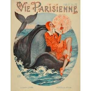1930 Cover La Vie Parisienne Art Deco Whale G. Leonnec