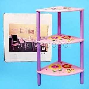 Childrens Pink Purple w/ Flower Print 3 tier Wooden Corner Shelf