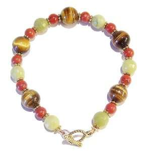 The Black Cat Jewellery Store Tigers Eye, Faceted Lime Jade & Red