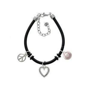Large Silver Baseball   Two Sided Black Peace Love Charm