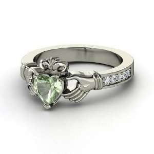 Claddagh Ring, Heart Green Amethyst Sterling Silver Ring with Diamond