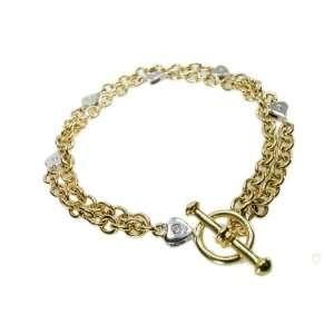 Yellow gold polish finished link bracelet, set with white gold diamond