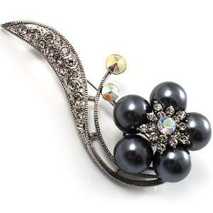 Stunning Flower Pearl Style Crystal Pin Brooch (Silver&Black) Jewelry