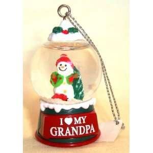 Heart MY GRANDPA Christmas Snow Globe Ornament