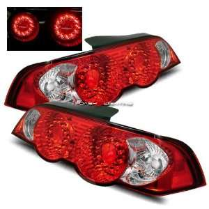 02 04 Acura RSX LED Tail Lights   JDM Red Clear Automotive