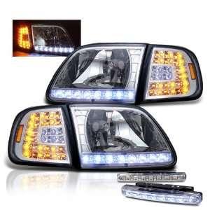 97 02 Expedition Chrome LED Head Lights + LED Bumper Fog Lamp Pair Set
