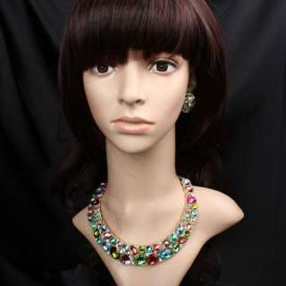 ARINNA Lady Multi Colorful Rhinestone Necklace Stud Party Set