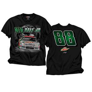 EARNHARDT JR #88 DIET MOUNTAIN DEW NIGHT LINE BLACK NASCAR TEE SHIRT