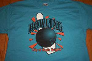 Vintage MAPLE HEIGHTS BOWLING T Shirt GREAT Pin Ball LOGO FREE