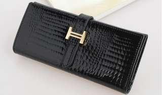 New elegant fashion Women black Wallet Genuine Leather clutch Purse