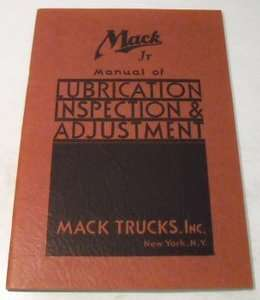 Mack Jr 1936   1937 Truck Owner Manual Original