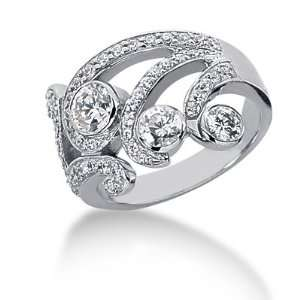 Diamond Ring Engagement Round cut 14k White Gold DALES Jewelry