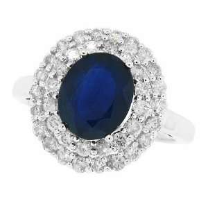 40ct Oval Cut Genuine Sapphire Ring with Diamonds in 14kt White Gold