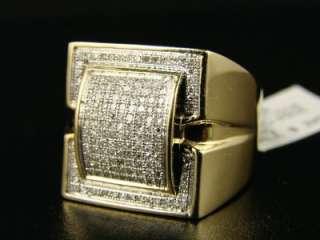 10K MENS YELLOW GOLD SI GENUINE DIAMOND XL RING .75 CT